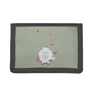 Sheep with flowers and butterflies Z1mk7 Tri-fold Wallet