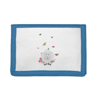 Sheep with flowers and butterflies Z1mk7 Trifold Wallets