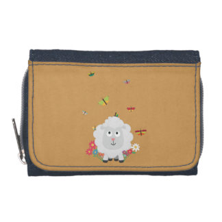 Sheep with flowers and butterflies Z1mk7 Wallet
