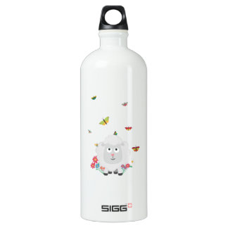 Sheep with flowers and butterflies Z1mk7 Water Bottle