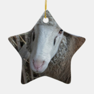 Sheep with hay ceramic ornament