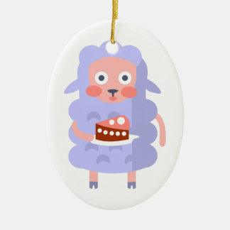 Sheep With Party Attributes Girly Stylized Funky S Ceramic Ornament
