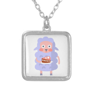 Sheep With Party Attributes Girly Stylized Funky S Silver Plated Necklace
