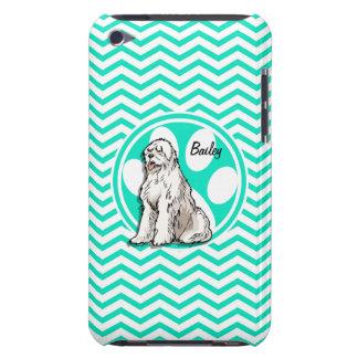 Sheepdog Aqua Green Chevron Barely There iPod Case
