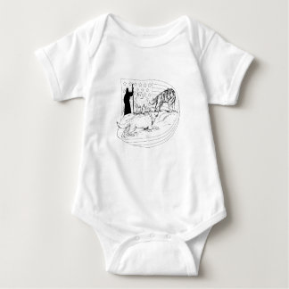 Sheepdog Defend Lamb from Wolf Drawing Baby Bodysuit