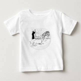 Sheepdog Defend Lamb from Wolf Drawing Baby T-Shirt