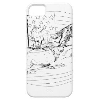 Sheepdog Defend Lamb from Wolf Drawing Case For The iPhone 5