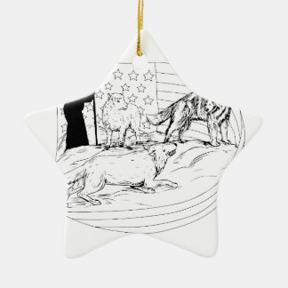 Sheepdog Defend Lamb from Wolf Drawing Ceramic Ornament
