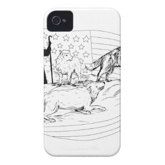 Sheepdog Defend Lamb from Wolf Drawing iPhone 4 Cases