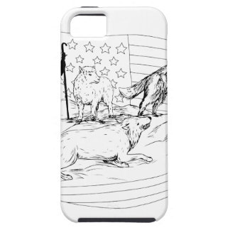 Sheepdog Defend Lamb from Wolf Drawing iPhone 5 Case
