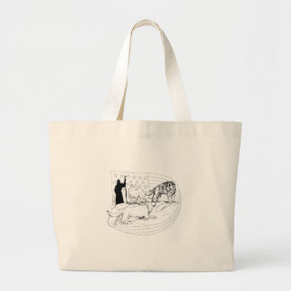 Sheepdog Defend Lamb from Wolf Drawing Large Tote Bag