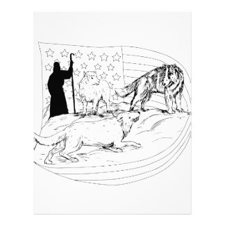 Sheepdog Defend Lamb from Wolf Drawing Letterhead