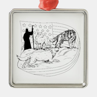 Sheepdog Defend Lamb from Wolf Drawing Metal Ornament
