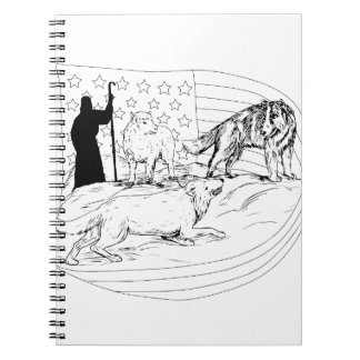 Sheepdog Defend Lamb from Wolf Drawing Notebooks