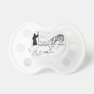 Sheepdog Defend Lamb from Wolf Drawing Pacifier