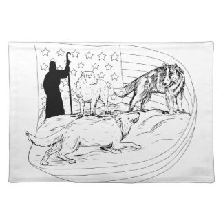 Sheepdog Defend Lamb from Wolf Drawing Placemat