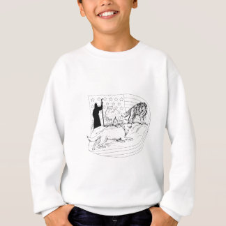 Sheepdog Defend Lamb from Wolf Drawing Sweatshirt
