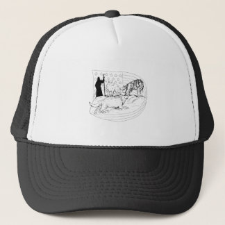 Sheepdog Defend Lamb from Wolf Drawing Trucker Hat