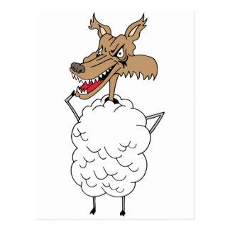 Sheep's clothing wolf postcard