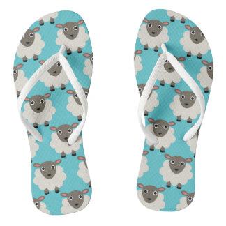 Sheeps seamless pattern flip flops