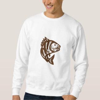 Sheepshead Fish Jumping Isolated Retro Sweatshirt