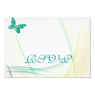 """Sheer Green Butterflies 3.5"""" X 5"""" Invitation Card"""