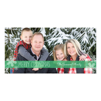 Sheer Green Christmas Photo Card