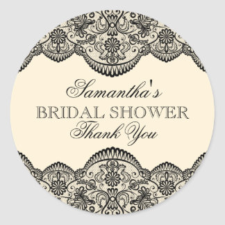 Sheer Lace Bridal Shower Classic Round Sticker