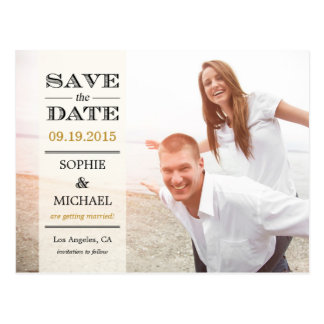 Sheer Overlay Save The Date Postcard - Cream