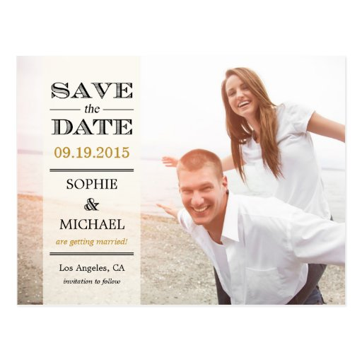 Sheer Overlay Save The Date Postcard - Cream Postcards
