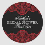Sheer Red Lace Bridal Shower Round Sticker