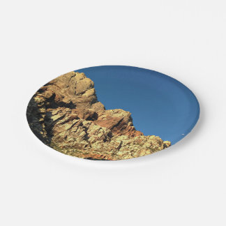 Sheer rock face and blue sky paper plate