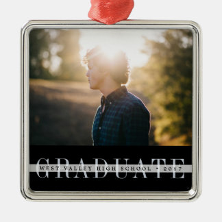 Sheer Stripe | Graduation Photo Metal Ornament