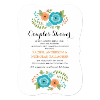 "Sheer Summer Flowers | Couples Shower 5"" X 7"" Invitation Card"