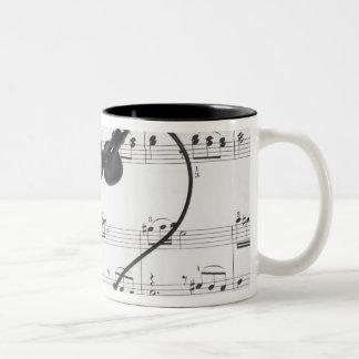 Sheet Music and Headphones Two-Tone Mug