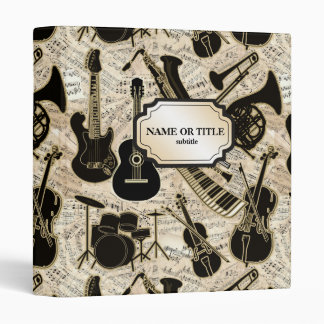 Sheet Music and Instruments Black/Gold ID481 Binder