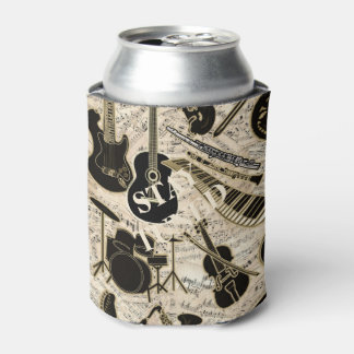 Sheet Music and Instruments Black/Gold ID481 Can Cooler