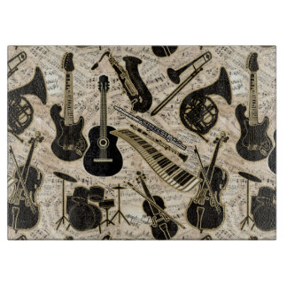 Sheet Music and Instruments Black/Gold ID481 Cutting Board