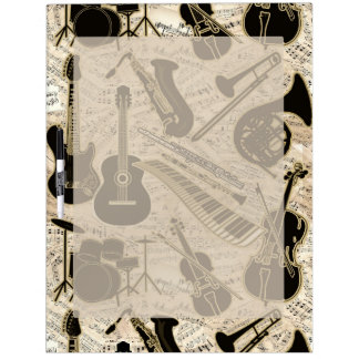 Sheet Music and Instruments Black/Gold ID481 Dry Erase Board