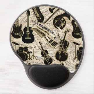 Sheet Music and Instruments Black/Gold ID481 Gel Mouse Pad