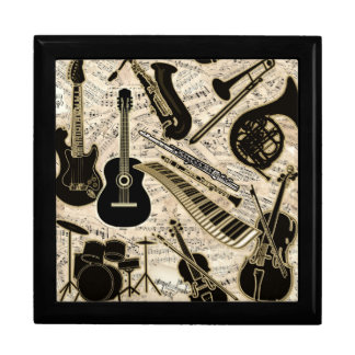 Sheet Music and Instruments Black/Gold ID481 Gift Box