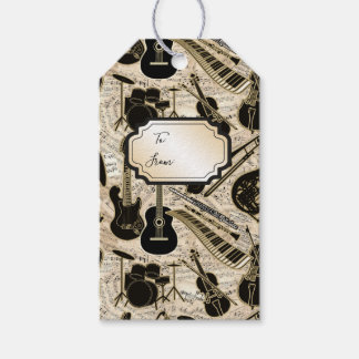 Sheet Music and Instruments Black/Gold ID481 Gift Tags