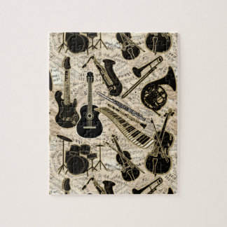 Sheet Music and Instruments Black/Gold ID481 Jigsaw Puzzle