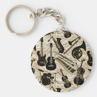 Sheet Music and Instruments Black/Gold ID481 Keychain