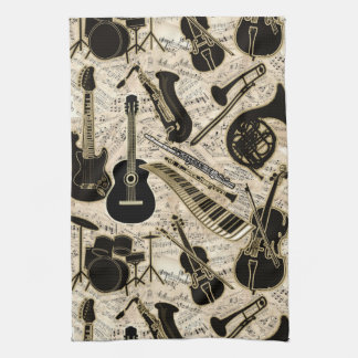 Sheet Music and Instruments Black/Gold ID481 Kitchen Towel