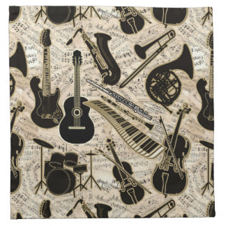 Sheet Music and Instruments Black/Gold ID481 Napkin