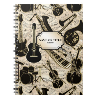 Sheet Music and Instruments Black/Gold ID481 Notebook