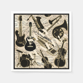 Sheet Music and Instruments Black/Gold ID481 Paper Napkin