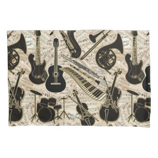 Sheet Music and Instruments Black/Gold ID481 Pillowcase