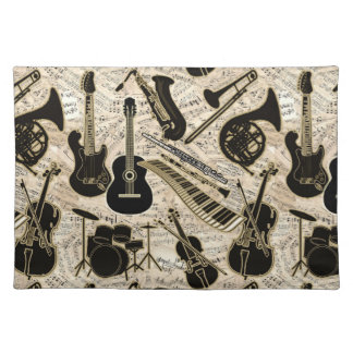Sheet Music and Instruments Black/Gold ID481 Placemat
